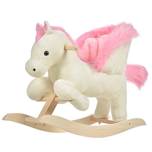 homcom Cavallo a Dondolo Bianco e Rosa con Suoni e Struttura in Legno di Pioppo per Bambini 18-36 Mesi, 70x28x57cm