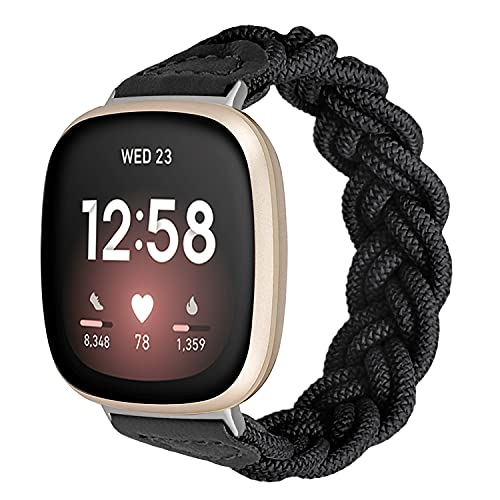 Vozehui Compatibel met Versa 3 armband, elastische, ademende, gevlochten riem met solo-lus, zacht nylon gebreide sportreserveband voor Versa 3/Sense, dames en heren