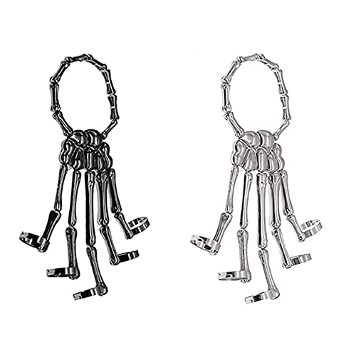 Deathbringer Bracelet, Wristband Skull Fingers Metal Skeleton Hand Brazalete con anillo, Gothic Bone Hand Bracelet, Halloween Horror Hand Finger Fashion para mujeres, niñas, hombres(Black+silver)