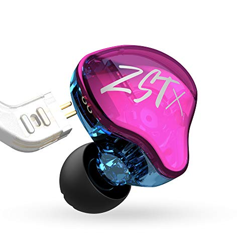 KZ ZST X 1BA+1DD Hybrid Unit in-Ear Earphones HiFi Banlance Armature Dynamic Driver Bass Sports DJ Headset with Silver-Plated Cable Earbud Earphones, Detachable Cable Headset (with MIC, Purple)
