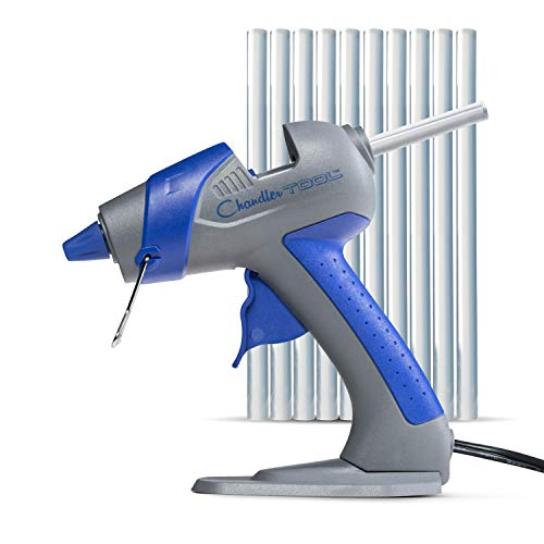 Mini Hot Glue Gun by Chandler Tool - 25 Watt Mini Size High Temp Hot Melt Mini Glue Gun Kit With 10 Pcs Mini Hot Glue Sticks, Patented Base Stand for Arts & Crafts, DIY & More (Blue)