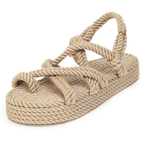Buy Bohemian Flatform Sandals for Women Flat Linen Rope Platform Female Open Toe Slip-on Casual Beac...
