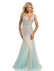 Aqua Long Organza Sequin Dress Sleeveless