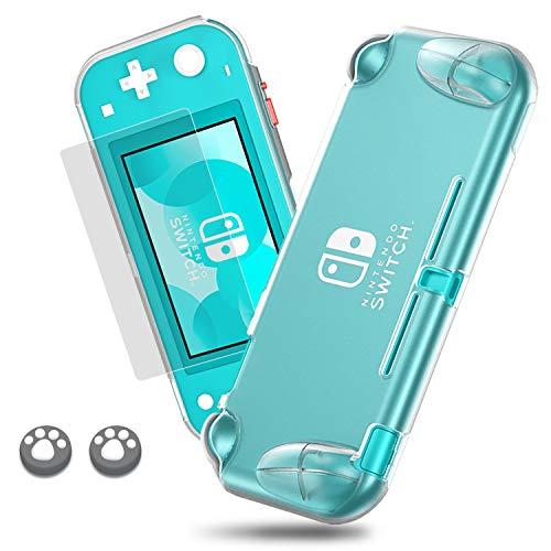 Lammcou Schutz Hülle Set für Nintendo Switch Lite 2019, Switch Lite TPU Case & 9H Panzerglas Display Schutzfolie & Cat Claw Design Joystick Kappen Thumb Grip Kappen für Nintendo Switch Lite Case Kit