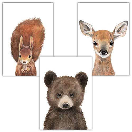 Frechdax® 3er-Set Bilder Kinderzimmer Deko Junge Mädchen - DIN A4 Poster Tiere - Wandbilder - Porträt | Waldtiere Safari Afrika Tiere Porträt (3er Set Bär, REH, Eichhörnchen)
