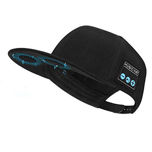 Mütze mit Bluetooth-Lautsprecher, verstellbare Bluetooth-Mütze, kabellos, für Outdoor-Sport, Baseball-Kappe Herren/Frauen/Jungen/Mädchen (Black)