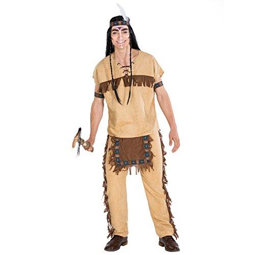 TecTake dressforfun Herrenkostüm Indianer | Kostüm + Haarband und Armband | Häutpling Indianerin Verkleidung (XXL | Nr. 300608)