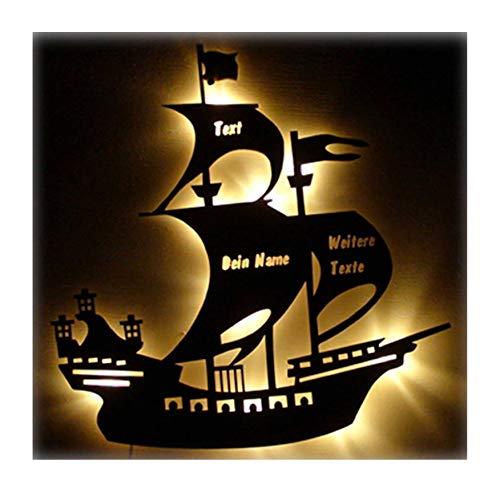 Piratenschiff Nachtlicht Holz Lampe Piratenschiff mit Name und Geburtsdaten Geschenke für Junge Mädchen Mann Männer Kinderzimmer zur Geburtstag Geburt Taufe