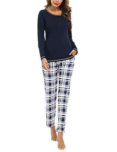 Hawiton Pijamas Mujer Invierno Manga Larga Conjunto de Pijama para Mujer Algodón Ropa de Casa Mujer Largo Pantalon Camiseta Dos Piezas