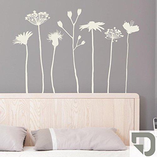 DESIGNSCAPE® Wandtattoo Wiesenblumen - Blumenwiese Deko 145 x 100 cm (Breite x Höhe) grau DW804062-M-F6
