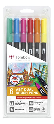 Set De 6 Rotuladores Dual Brush Colores Vivos Tombow