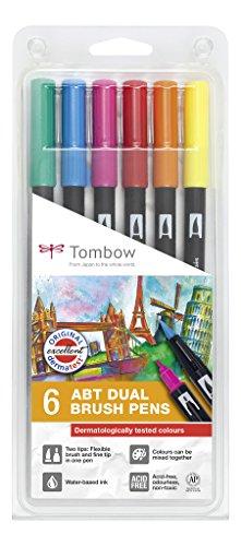 Tombow ABT-6P-3 Lot de 6 Feutres pinceau à 2 pointes, couleurs testées dermatologiquement