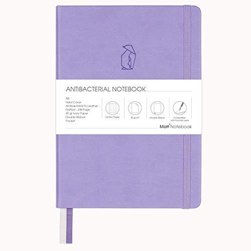 Matt Notebook | Antibakterielles klassisches Hardcover-Notizbuch zum Schreiben, Größe: 15 x 21 cm, A5, gepunktete Seiten, 208 Seiten, 90 g/m² Qualitätspapier