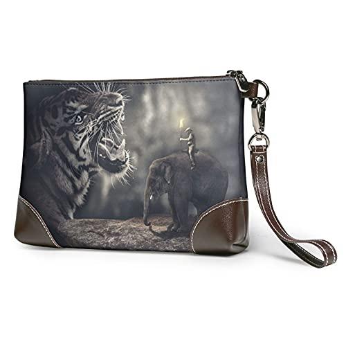 MGBWAPS Bolso de embrague de tigre y elefante, bolso de embrague de cuero, bolso cosmético, pulseras de embrague, Como se muestra, Talla única
