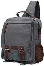 Plambag Canvas Sling Backpack, Large One Strap Travel Sport Crossbody Bag for Men Women, Grey