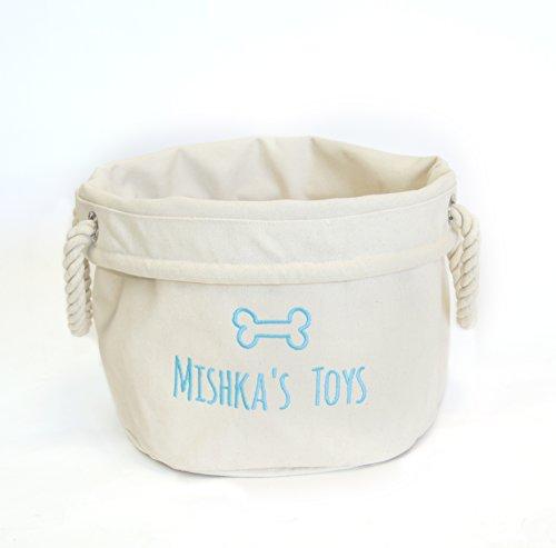 Personalisierte Hund Spielzeugkorb, Geschenke für Hunde, Hund Spielzeug Halter, Leinwand Aufbewahrungstasche