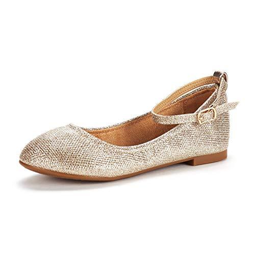 DREAM PAIRS Mädchen Knöchelriemen Ballerina Flache Schuhe Gold Größe 8 M US Toddler / 25 EU