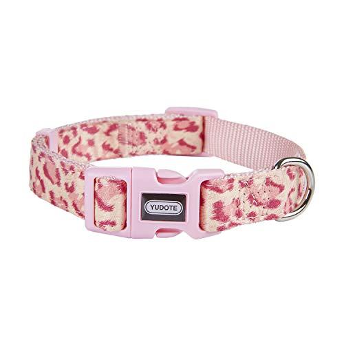 YUDOTE Collare in Nylon Regolabile Premium Morbido Tessuto floccaggio con Stampa Leopardata Unica per Cani di Media Taglia Collo 31-49cm,Rosa