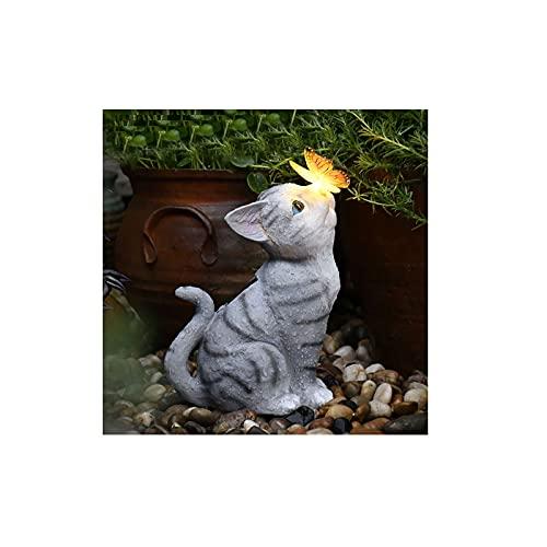 Corldiea Katze Gartendeko, Leuchtturm deko Garten Geschenke, Gartendeko Figuren, LED Solarleuchte Gartenfiguren,Gartenfigur mit Solarlaterne, für Außen Hof Balkon (Katze)