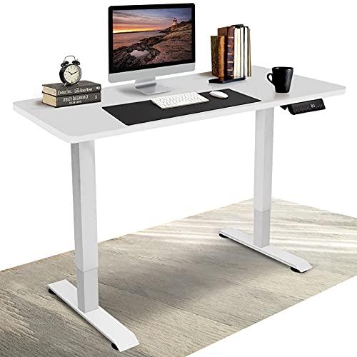 DCHOUSE Elektrisch Höhenverstellbarer Schreibtisch mit Memory Funktion (Weiß, Gestell Weiß)