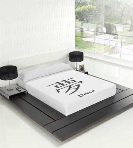 TSUKI Sábanas Dream Japonesas Zen Chillout Blanco/Negro 100% algodón (Cama 135)