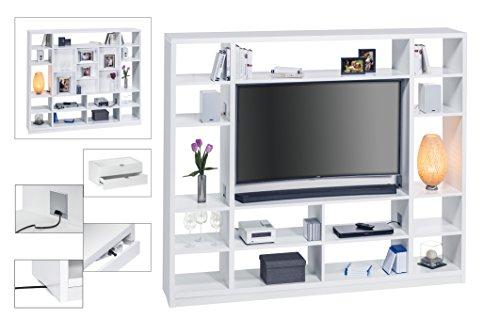 MAJA Raumteiler Wandregal Cableboard 6022 in Weiß 220x186x40cm Bücherregal Wohnwand