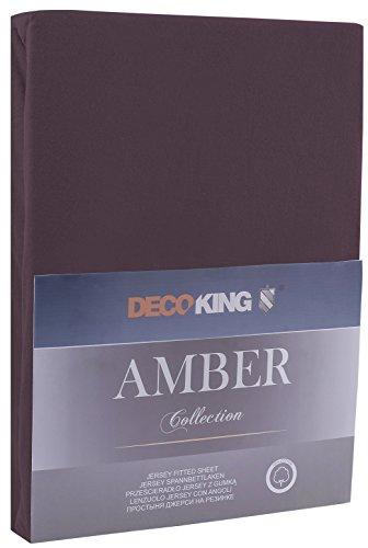 DecoKing 17470 80×200-90×200 cm Spannbettlaken braun 100% Baumwolle Jersey Boxspringbett Spannbetttuch Bettlaken Betttuch Schoko Brown Amber Collection - 2
