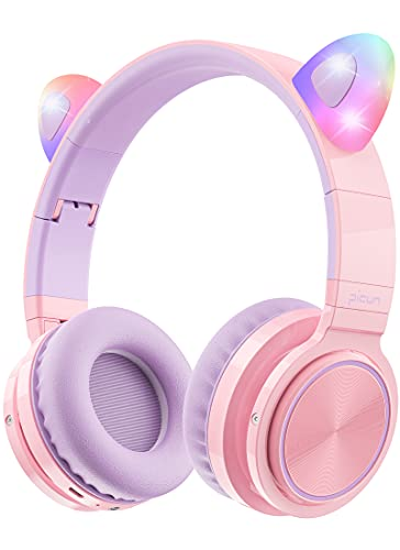 Picun Bluetooth Kids Headphones, Cat Ear Wireless 85dB Volume Limiting Kitty Girl Over-Ear Headphones with Microphone, Flashing LED, Foldable, Backup Wired Mode - Purple Pink