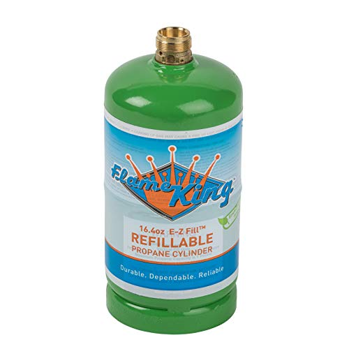 Flame King Refillable 1 lb Empty Propane Cylinder Tank - Reusable - Safe and Legal Refill Option - DOT Compliant - 16.4 oz