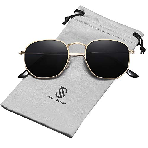 occhiali da sole uomo colorati SOJOS Retro Vintage Specchio Polarizzate Lenti Poligono Protezione UV Occhiali da Sole SJ1072 Con Oro Telaio/Grigio Lente