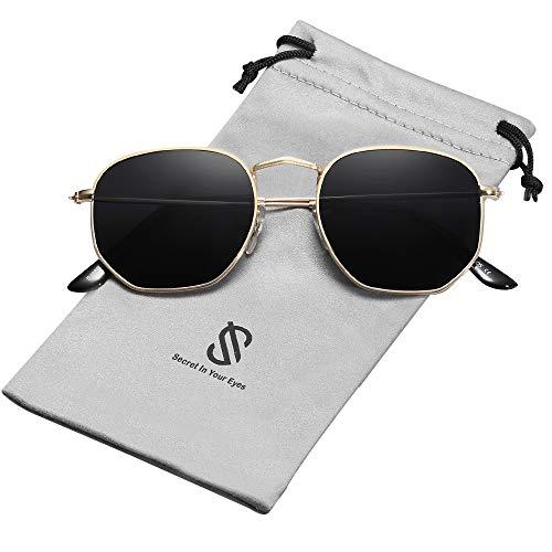 SOJOS Retro Vintage Specchio Polarizzate Lenti Poligono Protezione UV Occhiali da Sole SJ1072 Con...