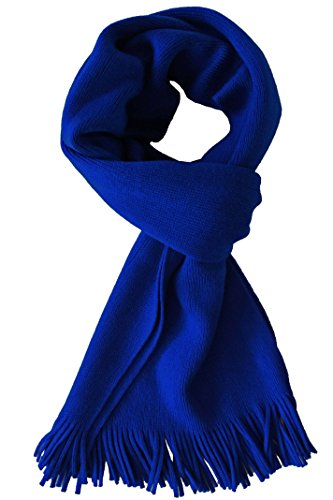 Rotfuchs Écharpe en tricot de renard rouge et au chaud Uni Trendy 100% laine (Mérinos) (186 x 27 cm, bleu royal)