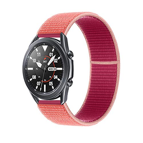 YGGFA 20 22mm Watch Band for Gear S3 Frontier Strap Galaxy Watch 3 45mm 41mm 46 Active 2 44mm 40mm Nylon para Huawei Watch GT2E / 2 Strap 42 (Band Color : Pomegranate 47, Band Width : 22mm)
