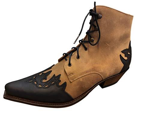 Sendra Cowboystiefel Stiefelette Line Dance Schnürr Stiefel Mod. 16008-3 Amber (39 EU, Braun/Schwarz)