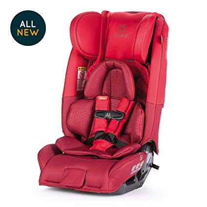 Diono Radian 3RXT All-in-One Convertible Car Seat - Extended Rear-Facing 5-45 Pounds, Forward-Facing to 65 Pounds, Booster to 120 Pounds - The Original 3 Across, Red