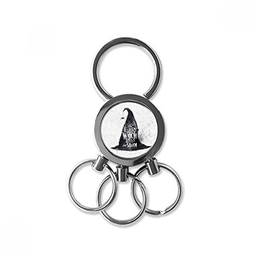 Inkt Effect Wizard Hoed Halloween Heks RVS Metalen Sleutelhanger Ring Auto Sleutelhanger Clip Gift