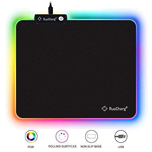 RuoCherg Alfombrillas de Ratón RGB, Grande LED Gaming Mouse Pad, 10 Modos de...