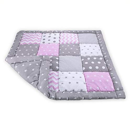 Krabbeldecke Patchwork 100x100 Spieldecke Baby - Patchworkdecke für Mädchen als laufgittereinlage groß gepolstert Grau-Rosa Öko-Tex Standard 100