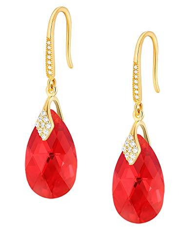 Crystals & Stones – Ganchos de plata 925 / chapado en oro 24 K – Light Siam AB – Pendientes con cristales de Swarovski – Bonitos pendientes para mujer – Pendientes con caja de regalo gratis