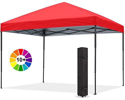 ABCCANOPY 1,8x1,8M Pavillon wasserdicht Pop-Up stabil Gartenpavillon Festival Sonnenschutz,rot