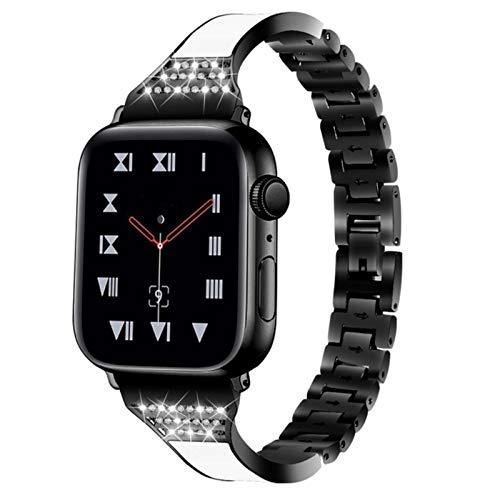 Banda Pulsera de cerámica Apple Watch Jewery Band 40 mm 44 mm 38 mm 42 mm Correa de diamante de acero inoxidable Cinturón para iWatch Series 5 4 3 2 1