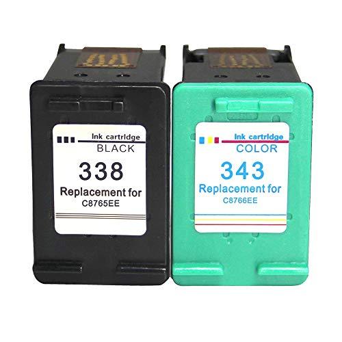 LIUYB 338 343 XL Cartucho de Tinta remanufacturado Compatible for HP338 HP343 HP DeskJet 6540 5740 5745 6520 6540 460C 6620 Impresora (Color : H 338 343)