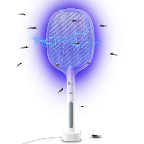GLOUE 2 in 1 Bug Zapper, Electric Fly Swatter Mosquitoes Killing without Waving Hands, Fly Zapper Indoor Mosquito Swatter Suitable for Home and Outdoor, 3000 Volts & USB Charger
