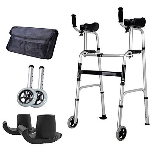 QIMENG Faltbarer Leichtgewicht Rollator,Outdoor Rollator,Leichtgewichtrollator,Stützarmläufer, Älterer Handlauf, Gehhilfe, 4-Fuß-Krücken, Reha-Trainingsgerät,2 Rounds