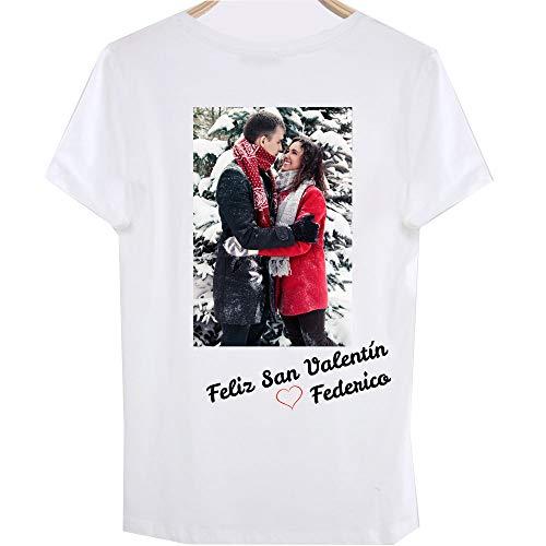 RecontraMago Camiseta Personalizada con tu Foto Camisetas Personalizadas De Algodon para Parejas Hombre Mujer - San Valentin - Sube tu Foto Muy Facil (Normal, XL)