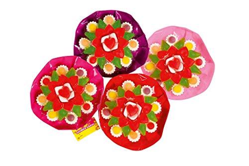 Look O Look Mini Flower Candy Geschenk Blumenstrauß mit Fruchtgummiblüten, 4er Pack (4 x 53 g)