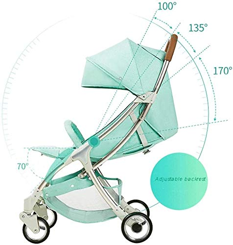 LAMTON Baby Stroller for Newborn, 4 Wheel Baby Stroller Lightweight High Landscape Travel System Foldable with Shock Absorbers from Birth, 40x100cm (Color : Green) LAMTON Adjustable handlebars for people of all heights can adjust the most comfortable push position Easy to fold, can be picked up in the trunk of the car, his parents urge him to go shopping, travel, walk, play and talk, or picnic outdoors ★ Aluminium alloy frame, sturdy, lightweight, durable, easy to store and travel 4