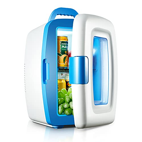 HALIGHT Mini Fridge, 10 litres Cooler and Warmer Compact Refrigerator, with AC/DC Power, Portable Fridge, for Skincare, Foods, Medications, Breast Milk, Home and Travel