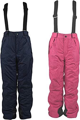 FJBenz Pantaloni da Sci per Bambini Pantaloni da Sci per Sport Invernali Pantaloni da Neve (Pink, 146-152)