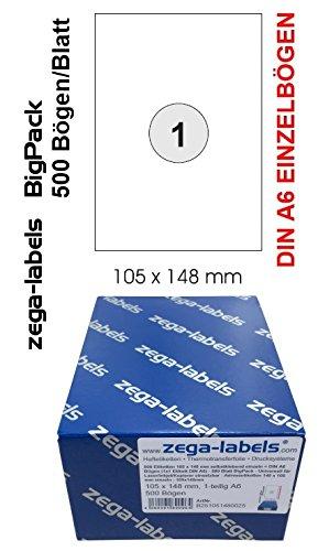 500 Etiketten 105 x 148 mm selbstklebend einzeln = DIN A6 Bögen (1x1 Etikett DIN A6) - 500 Blatt BigPack - Unviersell für Laser/Inkjet/Kopierer einsetzbar - Adressetiketten 148 x 105 mm einzeln
